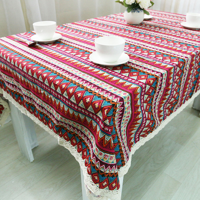 WLIARLEO Tablecloth Geometric Striped Table Cover Bohemian Style Table Cloth  With Lace 140x140cm Red Blue Home