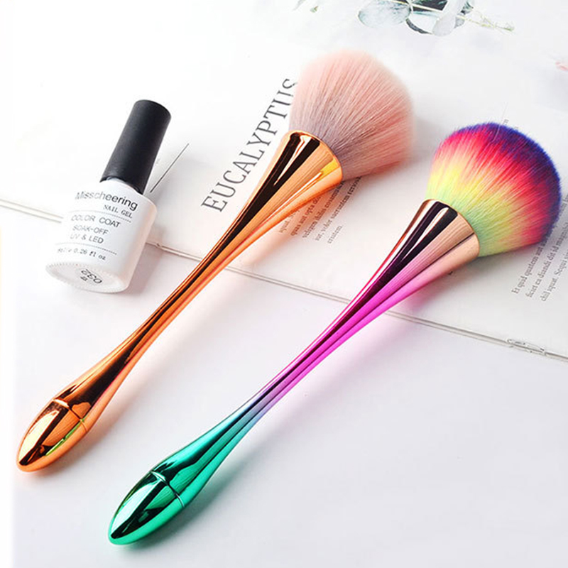 Long-holder Nail Dust Brush 2 Colors Nail Art Soft Dust Cleaner Cleaning Brush For Cleaning Manicure Brush UV Gel Powder Removal