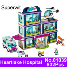 Superwit New Lepin 01039 932pcs Girl Friends Series City Heartlake Hospital Building Blocks Bricks Compatible 41318