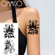 OMMGO Pirate Viking Ship Bear Pine Tree Temporary Tattoos Sticker Black Animal Elephant Fake Tattoo Body Art Boat Sheet Hands(China)