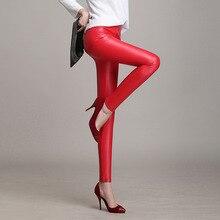 Otoño invierno Mujeres Pantalones Acolchado Pu Leggings 7 Colores Más Tamaño Leggins Pantalones Mujer Femme Pantalon pantalones de Cuero de Imitación
