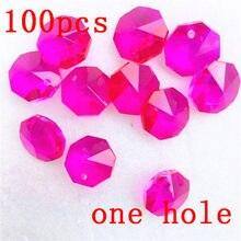 free verzending 100 stkspartij 14mm fuchsia crystal octagon kralen in een gat voor kroonluchter hangers glas gordijn kralen lev