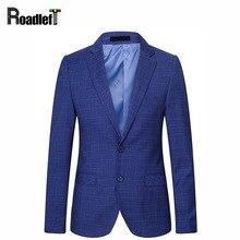 Для мужчин бренда плед Slim Fit Повседневное Блейзер Для мужчин выпускного вечера Нарядные Костюмы для свадьбы Королевский синий смокинг бордовый пиджак Для мужчин бизнес платье блейзер