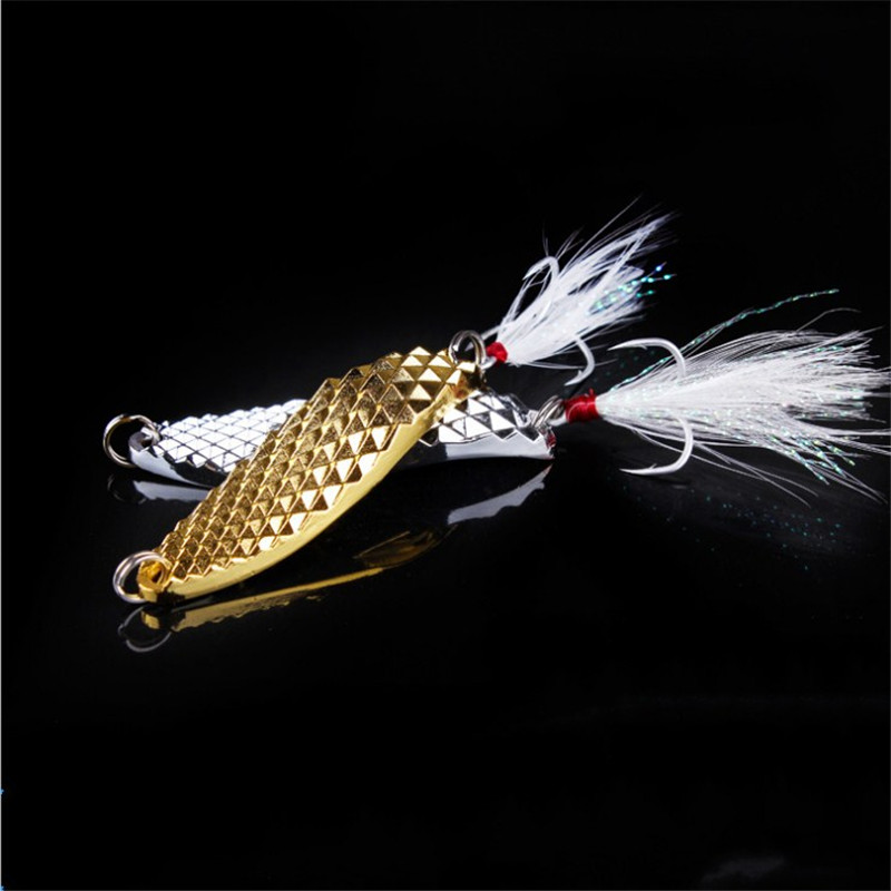 1Pcs Metal Spinner Spoon Fishing Lure Hard Baits Sequins Noise Paillette with Feather 3 Hooks Fishing Tackle7g /10g/ 15g /20g afishlure quick sinking metal vib crankbait 12g 15g 20g treble hooks vibration lure fishing lure metal spoon sequins all water