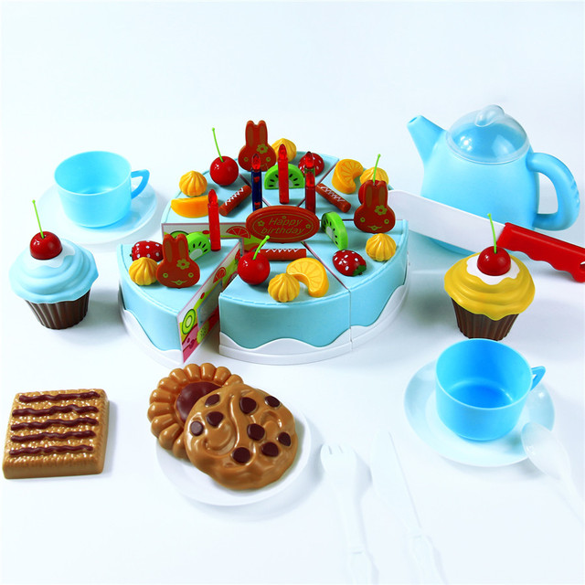 Abbyfrank 75Pcs Kitchen Toys Pretend Play Cutting Birthday Cake Food Toy Tableware Cocina De Juguete Plastic Play Food Tea Set
