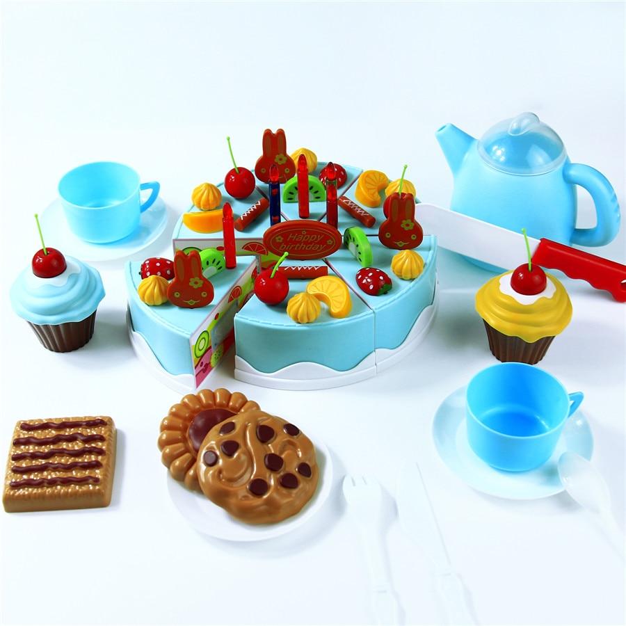 Abbyfrank 75Pcs Pretend Play Cutting Birthday Cake Kitchen ...