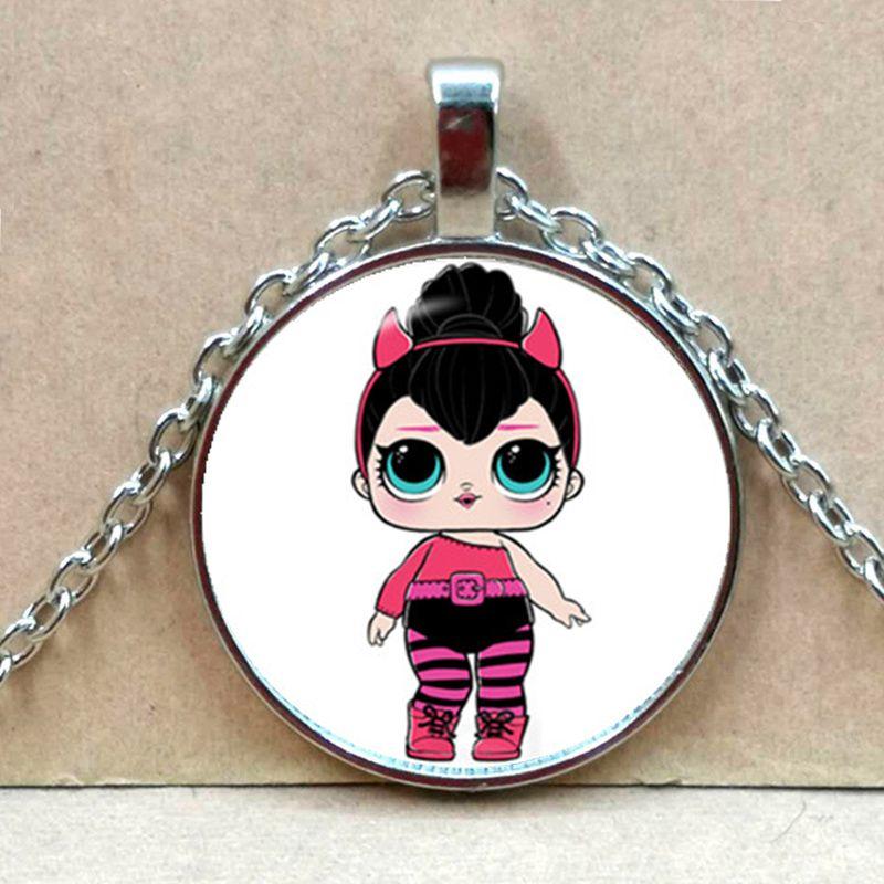 Мультяшное ожерелье с изображением куклы милое детское блестящее платье принцессы куклы стеклянные ожерелья аниме для детей подарок на день рождения - Окраска металла: Silver 4