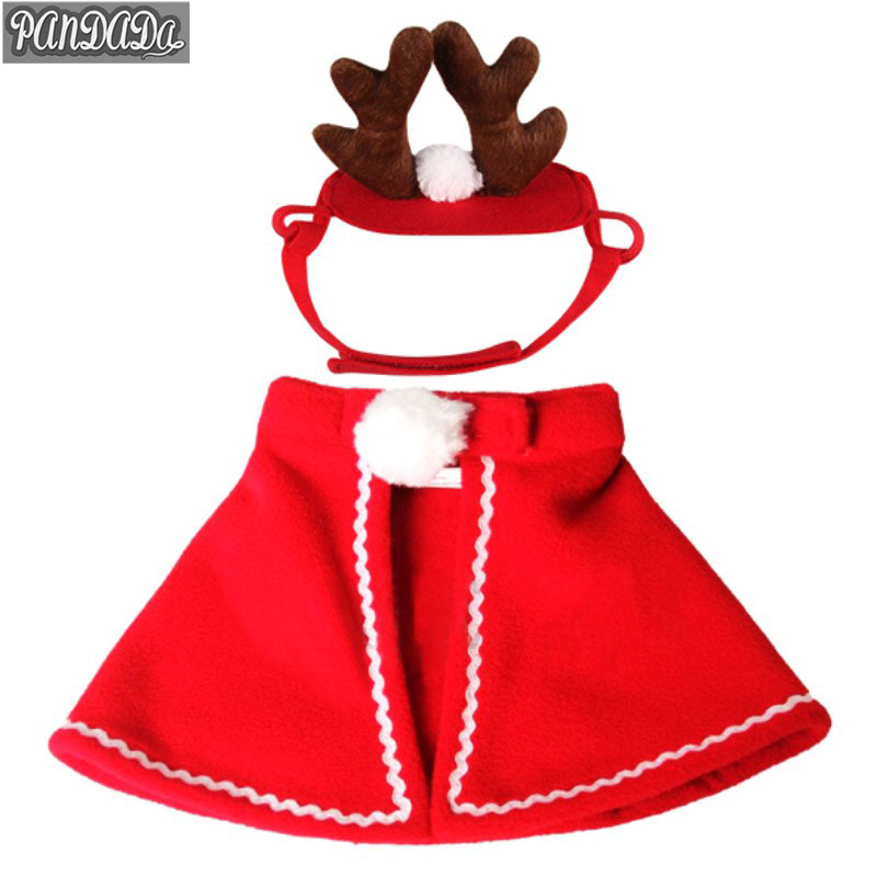 panDaDa Pet Clothes Cloaks Dogs Cat Antlers Hats New Year Christmas Cat Dog Costumes Pet Product Puppy For Dogs PY