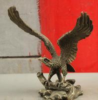 Wan67104014 + + + 12 Китайский Фэншуй 100% чистый Бронзовый Орел Hawk на крыльях Сокол статуя