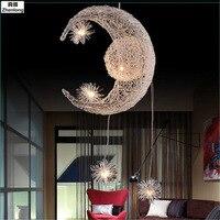 Новый Новинка ребенка Детская комната свет светодио дный современный подвесной светильник лампа с 5 * G4 для дома Луна Звезда плетеная лампе