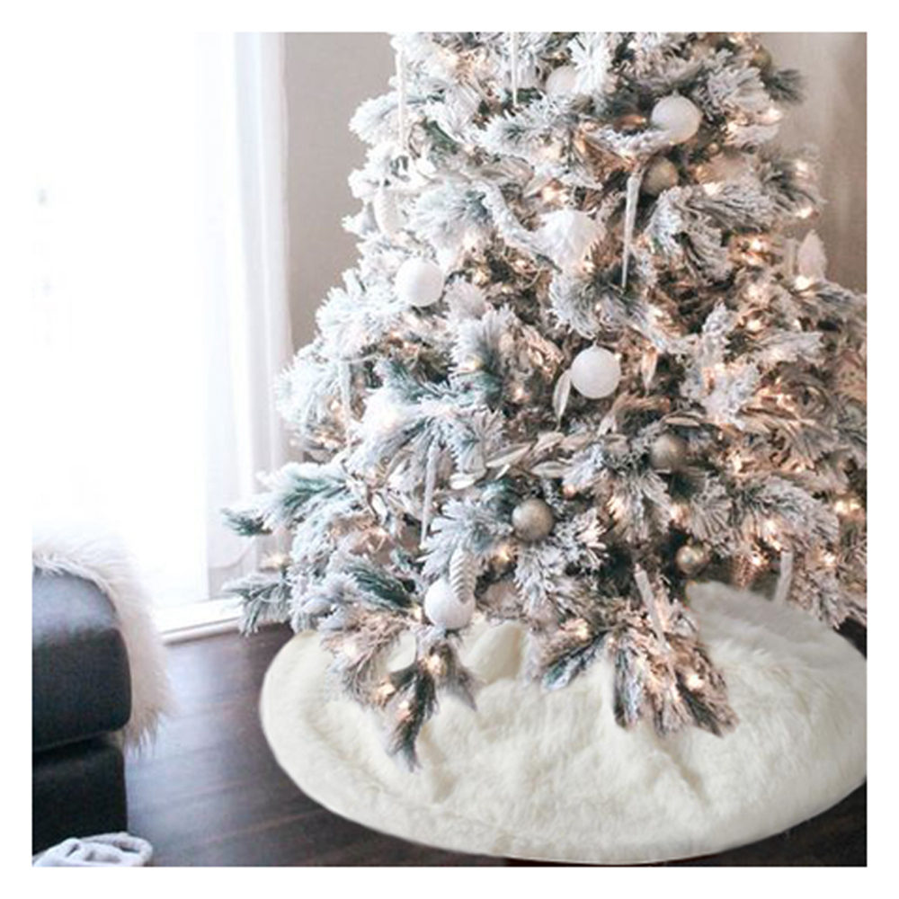 48 inch White Christmas Tree Skirts Snowy Faux Fur Xmas Decor Luxury Soft Snow for Holiday Decorations