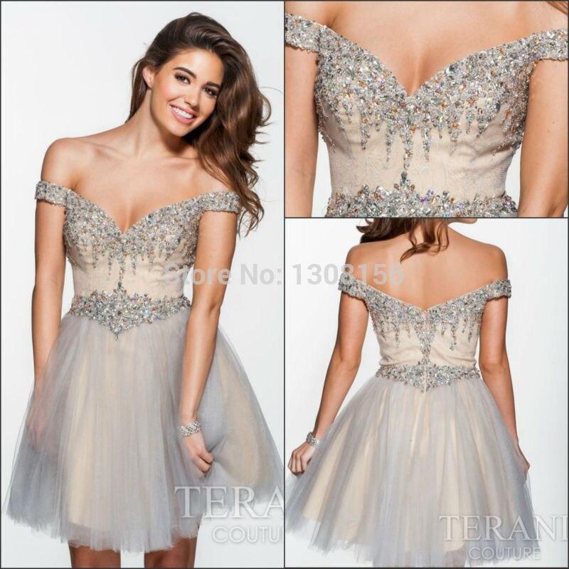 2015 Hot Sale Short Puffy Prom Dresses V Neck Grey Color Crystal ...