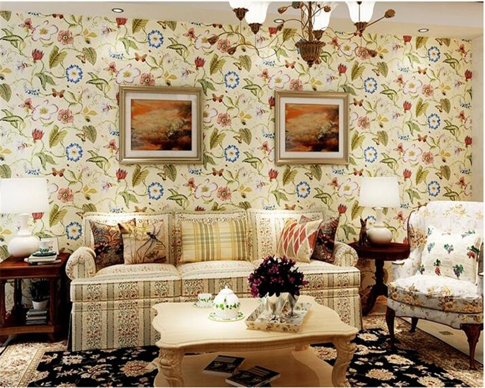 beibehang American Village Flower Birds Paper tapety 3d Wallpaper Bedroom Living Room TV Wall Background Warm Pastoral Wallpaper beibehang wall paper french pune cozy flower garden bedroom living room tv background wallpaper shop for environmental non wove