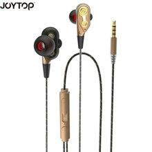 JOYTOP 유선 이어폰 하이베이스 듀얼 드라이브 스테레오 이어폰 마이크 장착 컴퓨터 이어폰 스포츠 용