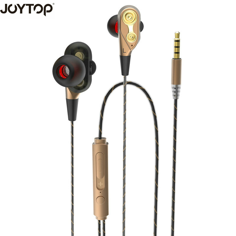 JOYTOP Hot Earphones Dual Driver High Definition Monitor Headphones with Microphone audifono fone de ouvido for smartphone
