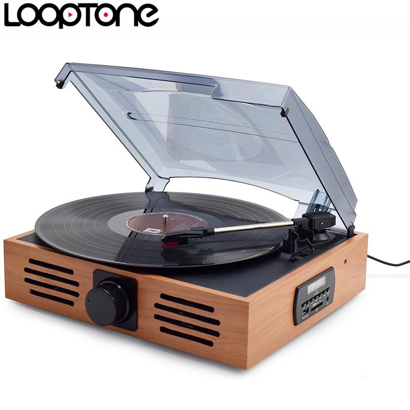 LoopTone 33/45/78 Speed USB Turntable Players Vinyl LP Record Player w/ FM Radio Earphone Jack 45 RPM Adaptor AC110~130&220~240V цены