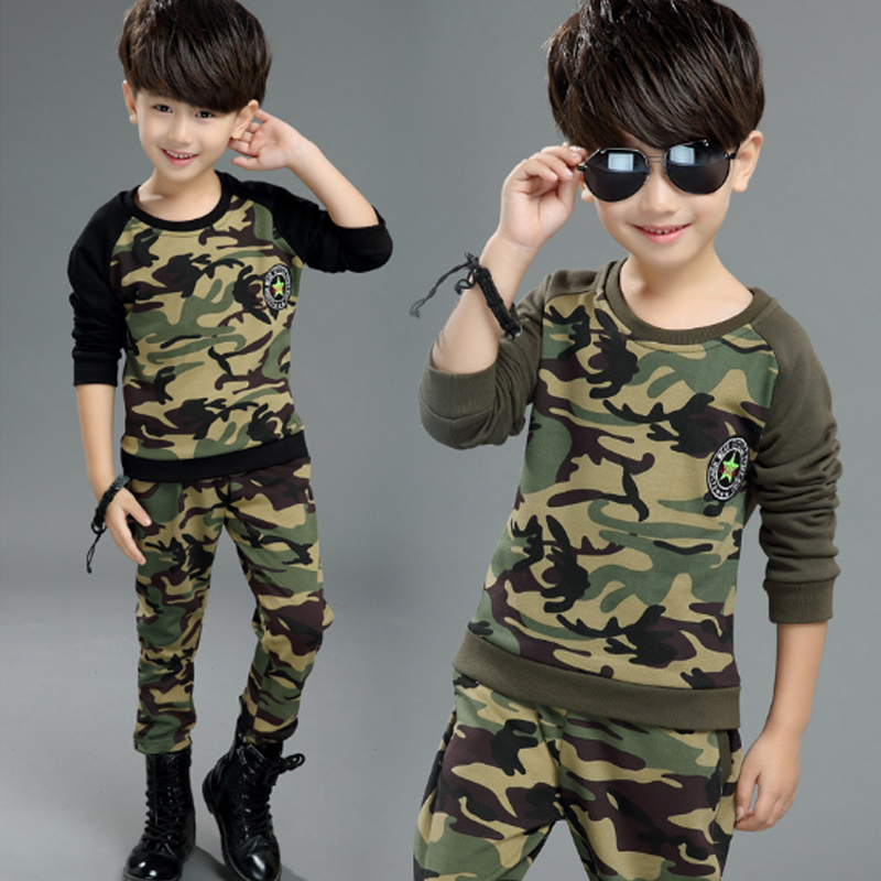 Boys Girls Suits 2017 New Autumn Black Army Green Camouflage Suit for Kids Clothes Long Sleeve Tracksuit Children's Sets 3cs065 travel aluminum blue dji mavic pro storage bag case box suitcase for drone battery remote controller accessories