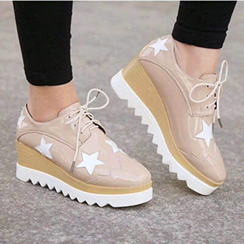 Spring Fall Patent Leather Flat Women Shoes Red White Black Khaki Muffin Platform PU Slope With Lace Star Female ZK3