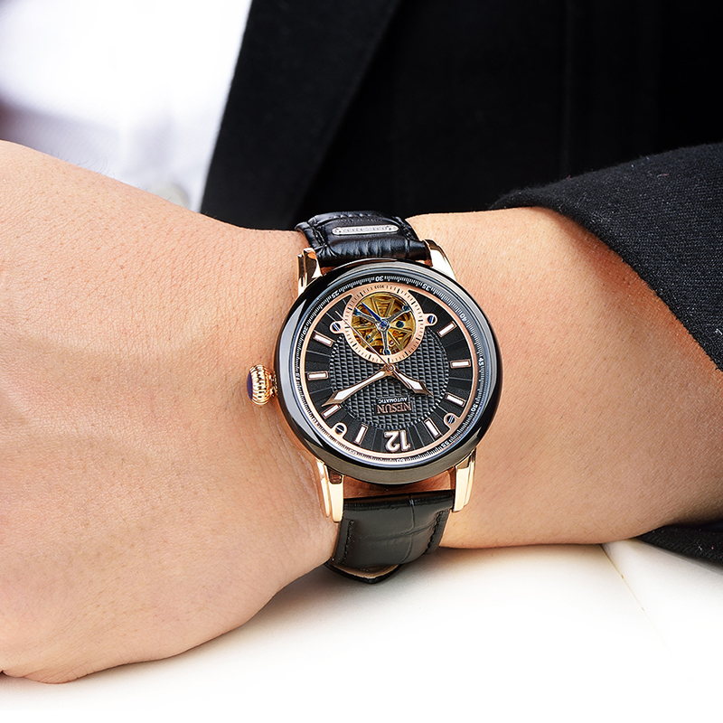 Top Brand NESUN Men Fashion Tourbillon Hollow Automatic Mechanical Wristwatches Waterproof Male Luxury Watches Relogio Masculino все цены