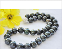 A A++ 14mm ROUND BLACK Freshwater PEARL NECKLACE ball CLASP (z6734)