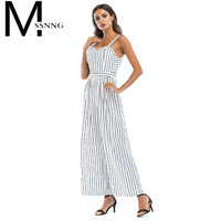 MSSNNG 2018 Sexy Off Shoulder Women Jumpsuit Strap Striped Backless Summer Bodysuit Lace Up Sleeveless Playsuit