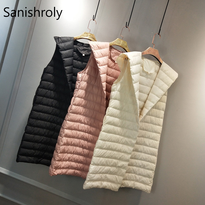 Sanishroly 2018 Winter Women Sleeveless Waistcoat Hooded Ultra Light Down Vest Female Midi Long Duck Down Coat Parka Tops SE306