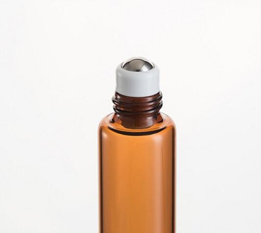 10 ML AMBER Bruin Dikke Glazen Roll Op Essentiële Oliën Fles Metalen Rollerball - 4