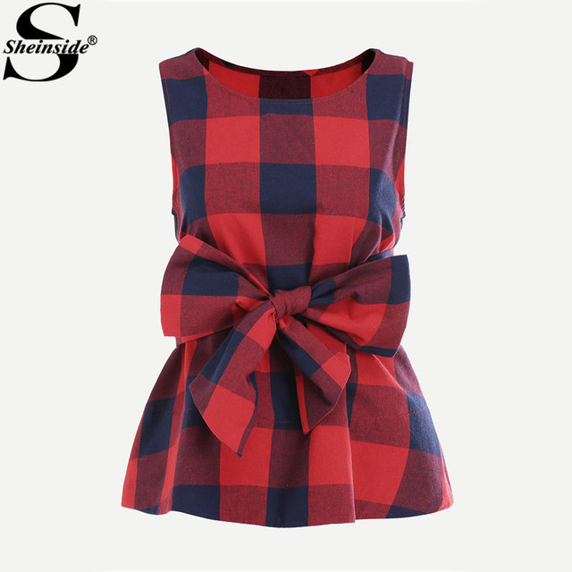 Sheinside Belted Red Plaid Shell Blouse For Ladies Summer Round Neck Sleeveless Casual Peplum Blouse 2017 Women's Elegant Tops
