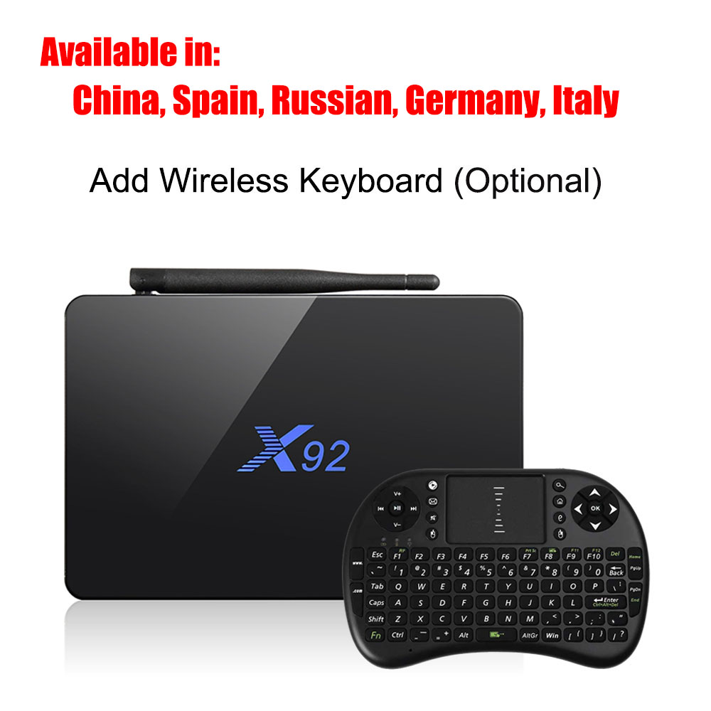 Almacén de ultramar X92 WiFi Amlogic S912 octa-core TV Box Cortex-A53 Visualización en tiempo Real en Línea TV HD 2.0a media de conectividad