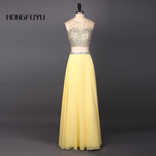 Two Piece O Neck Sleeveless Zipper Yellow Chiffon A Line Prom Dress