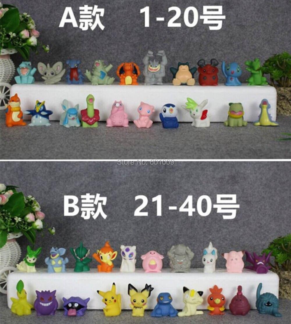 Free Shipping 20Pcs Poke Go Finger Puppets Anime Pikachu Snorlax Mew TOTODILE Piplup Lapras Action Figures PVC Toys action figure pokemon