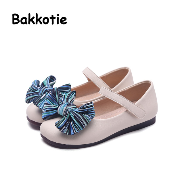 Bakkotie 2018 New Spring Fashion Children Bow Flats Baby Girl Princess Shoes  Kid Black All- 60e7674b3419