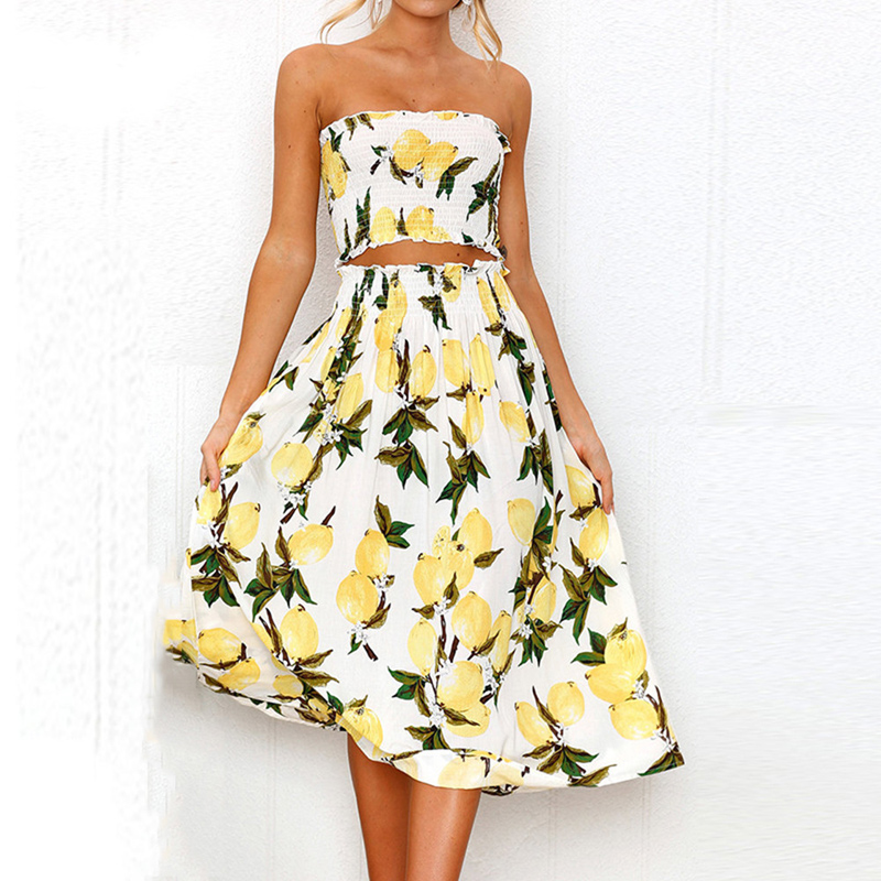 06389482f1334 Boho Lemon Sunflower Print Dress Women Summer Beach Sexy Strapless Two  Pieces Wrap Tops Long Dress