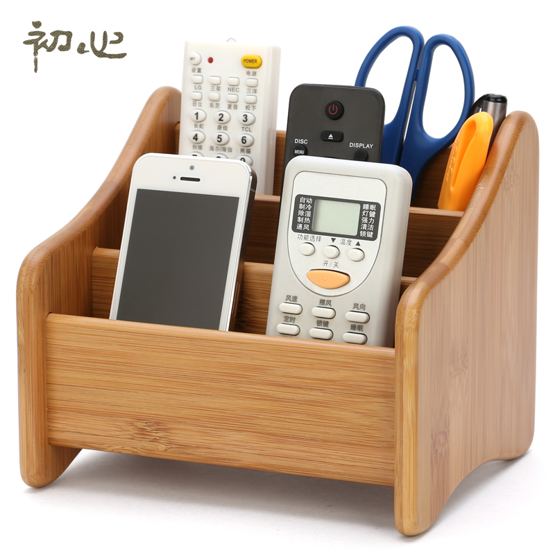 First Heart Wood Remote Control Storage Box Creative Finishing Wooden Office Desktop Rack Living Room Coffee In Boxes Bins