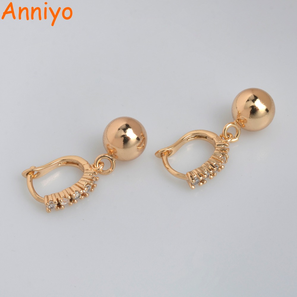 Anniyo Cubic Zirconia Russian Rose Gold Earrings for Women Girls Papua New Guinea Ball Bead Earing Jewelry Gifts #045404