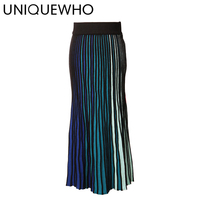 UNIQUEWHO Women Gradient Ramp Skirts Highly Stretchable Slim Knit Skirt High Waist Mid Calf Midi Skirts