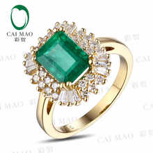 CaiMao 2.22ct Natural Emerald 18KT/750 Yellow  Gold  0.68ct Full Cut Diamond Engagement Ring Jewelry Gemstone