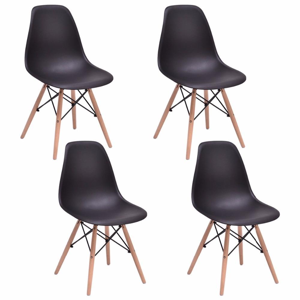 Giantex 4 pièces mi siècle moderne à manger chaise d'appoint bois jambe noir meubles de salle à manger HW58931BK