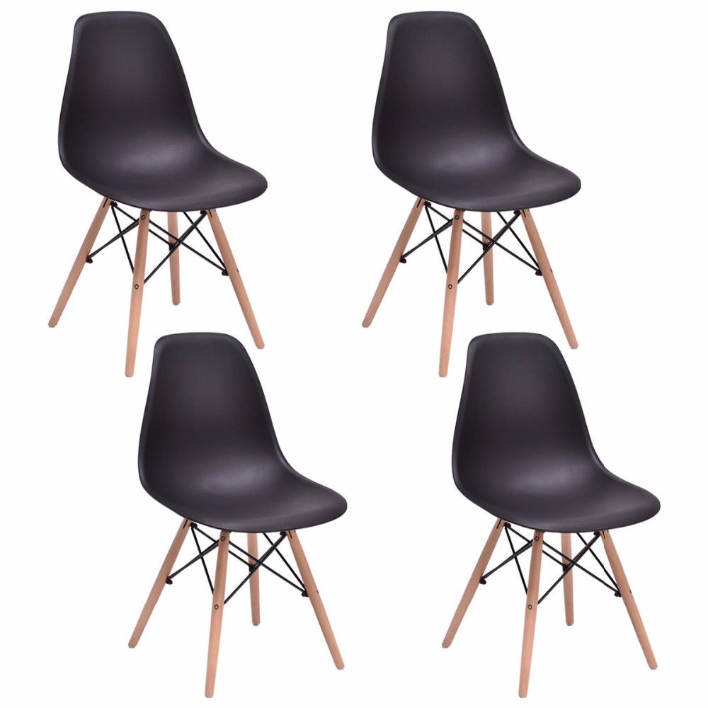 Giantex 4PCS Mid Century Modern Dining Side Chair Wood Leg Black Dining Room Furniture HW58931BK