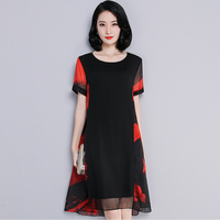 High quality 2019 New Arrival Women dress Plus Size L 5XL Elegant O Collar Short sleeve dress Flower Printed Woman Chiffon Dress