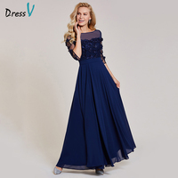 Dressv Dark Navy Long Evening Dress Cheap A Line 3 4 Sleeves Wedding Party Formal Dress
