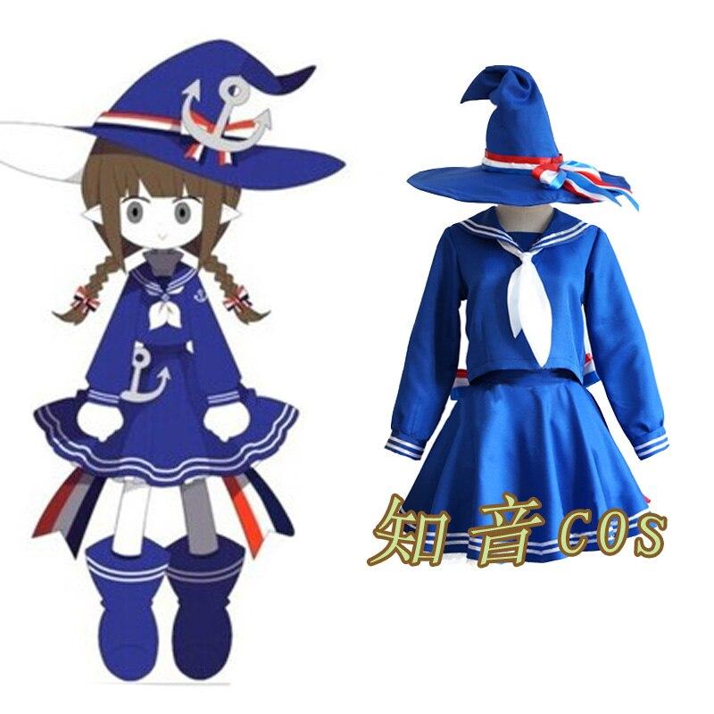L'océan Original Wadanohara et bleu marin Costumes la grande mer normale End2 Cosplay Costumes femmes décontracté hauts + jupe + chapeau