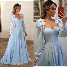 Elegant Light Blue Feather Evening Dress A Line Long Sleeves Plus Size 3D  Floral Yousef Aljasmi e4104118234b