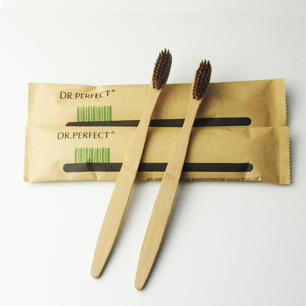 2 Pieces Brown 100% Bamboo Toothbrush Wood toothbrush Novelty Bamboo soft-bristle Capitellum Bamboo Fibre Wooden Handle image