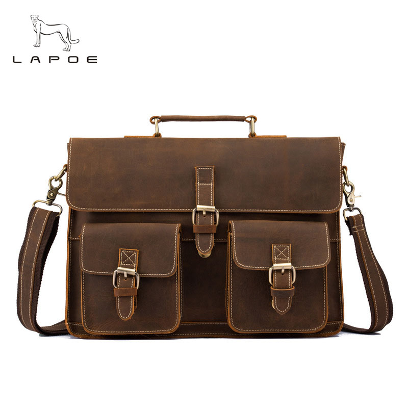 Men Briefcase Crazy Horse Leather Handbags Office Bags for Mens Messenger Bag Men Laptop Bag Genuine Leather Briefcases ylang vintage crazy horse cowhide briefcases men messenger bags 15 laptop handbags genuine leather briefcase business bag