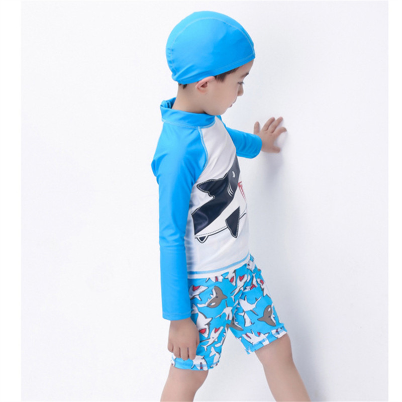 94ca1fe685 2018 New Boys Swimwear Kids Long Sleeve & Shorts Blue with Wale Pattern  Beach Wear Children Swimwear Summer Wear Swimming Cap-in Body Suits from  Sports ...