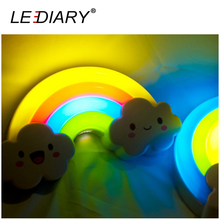 LED Rainbow Colorful Night Light Voice & Light Control Bedside Lamp