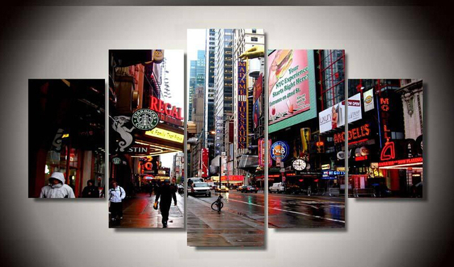 5 Panel Framed Printed new york city Painting on canvas room ...