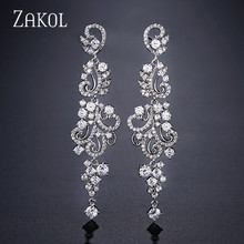 ZAKOL Fashion Bridal Earrings CZ Zirconia Crystal Leaf Shape Long Dangle Drop Earrings for Women Wedding Jewelry Party FSEP2253 недорого
