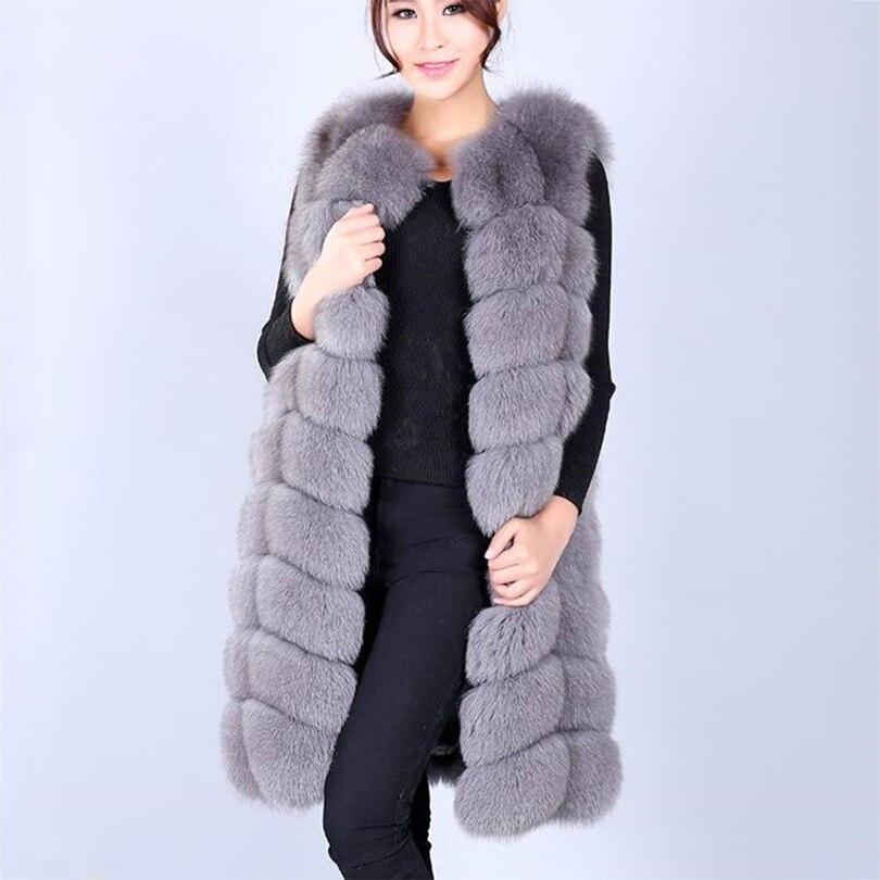 Haute qualité réel gilet fourrure de renard longue conception femmes de survêtement mince manteaux en cuir véritable carré les mieux notés de fourrure gilet tissu